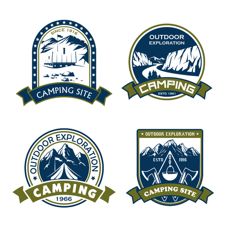 Camping site outdoor adventure icons for mountain hiking sport or extreme nature explorer team club. Çizim