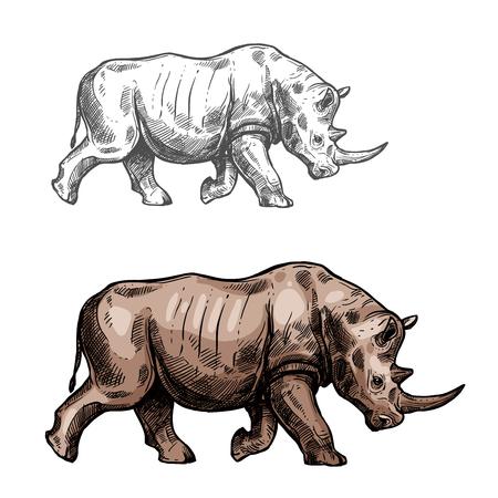 サイの野生動物スケッチベクトルアイコン側面図。野生動物の動物相や動物学や狩猟スポーツチームのトロフィーシンボルと自然動物園アドベンチ