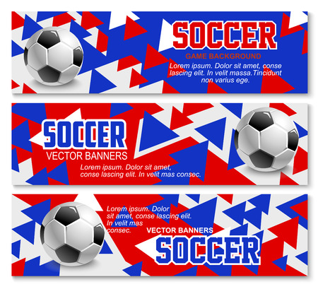 Soccer championship or football sport game tournament background banners design template. Vector red, blue and white, soccer ball at arena stadium for international cup or college team match
