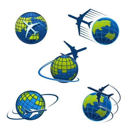 旅行代理店や航空郵便配達や物流サービス会社のための飛行機や世界の地球儀のアイコンテンプレート。観光の旅や航空会社の航海のために地球の  イラスト・ベクター素材