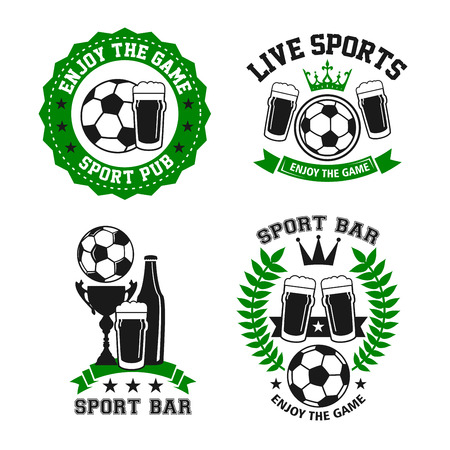 Soccer sports bar or football fan club beer pub icon templates. Vector isolated labels of beer drink and football ball or soccer cup for live team league championship or game tournament Ilustração