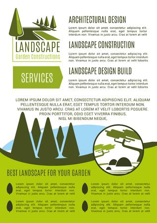 Tuinlandschap ontwerp en tuinieren tuinbouw bedrijf poster poster sjabloon. Vector groene aardbomen of parktuinen en bosaanplantingen voor het modelleren en groene tuinbouw