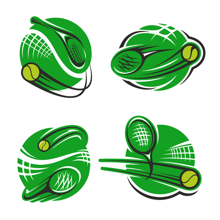 Tennis sport club or championship game icons templates for fan club or sport team. Vector isolated labels or badges set of tennis racket and flying ball over green goal net