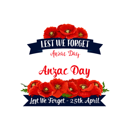 Anzac Day ribbons with red poppy flowers set for April Australian and New Zealand war remembrance anniversary.
