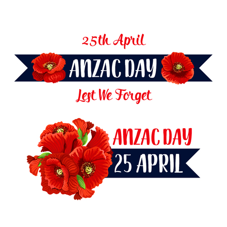 Anzac Day poppy bunch icon for war commemorative day of Australia and New Zealand soldiers and veterans.