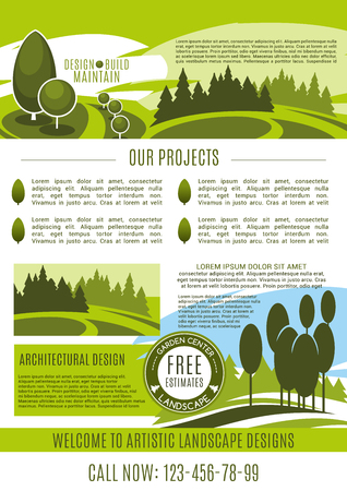 Landscape design, build and maintain service company poster design template. Vector gardening or garden horticulture landscaping for green nature trees or park gardens and woodland plantations