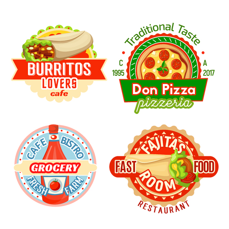 Fast food meals and snacks icons design template for fast food restaurant or bistro menu. Vector Mexican burrito burger and fajita sandwich, pizza for pizzeria and ketchup for grocery cafe bistro. Illustration