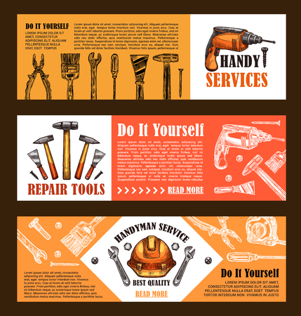Home repair and handy service sketch banner templates of handyman work tool for house finishing and painting. Vector carpentry hammer, drill and screwdriver, paint brush and plastering trowel or ruler Illusztráció