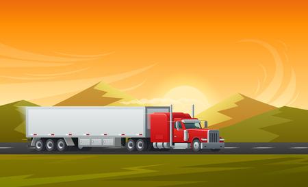 トレーラートラックや山の自然の風景と道路上の長い車の輸送。輸送または物流配送または国際輸送会社のためのベクトル背景設計テンプレート