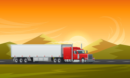 Trailer truck or long vehicle car transport on road with mountain nature landscape. Vector background design template for transporting or logistics delivery or international transportation company