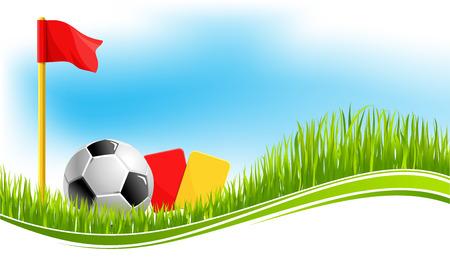 Voetbal of voetbalspel achtergrond ontwerpsjabloon voor fanclub of college team kampioenschap of toernooi. Vector voetbal op arena stadion gras, competitie vlaggen en scheidsrechter kaarten voor voetbalwedstrijd