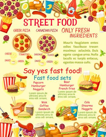 Vector fast food street food snacks poster Illustration