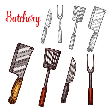Butchery knives cutlery sketch vector icons Illustration