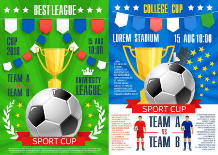 Soccer sport cup tournament posters design template for football league teams match or cup championship. Ilustração