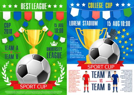 Voetbal sport cup toernooi posters ontwerpsjabloon voor voetbalcompetitie teams wedstrijd of beker kampioenschap. Vector Illustratie