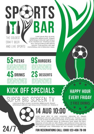 Vector poster for soccer bar or football pub