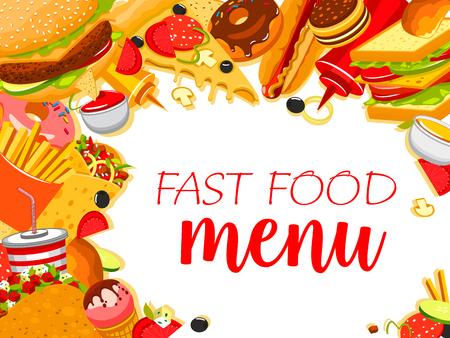 Vector fast food restaurant menu poster illustration. Illustration