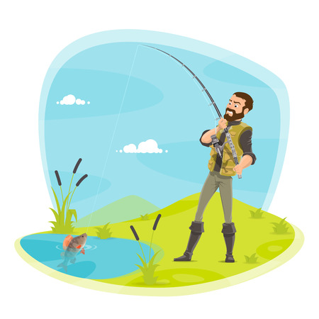 Vector fisherman fishing and fish catch at lake illustration. Ilustração