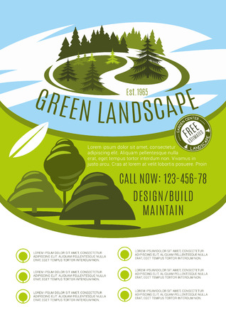 Vector poster for green landscape design company illustration.