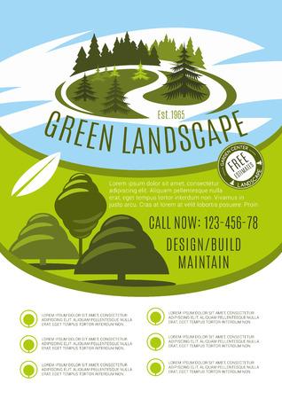 Vectoraffiche voor groene het bedrijfillustratie van het landschapsontwerp. Stock Illustratie