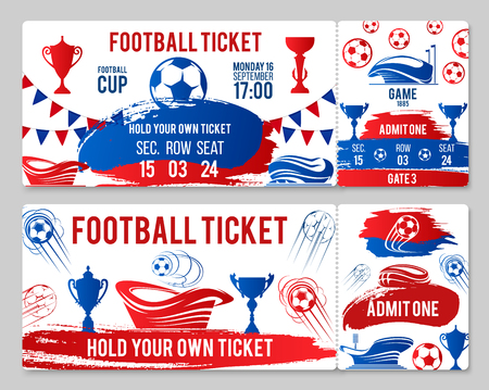 Vector tickets of football soccer cup championship illustration.