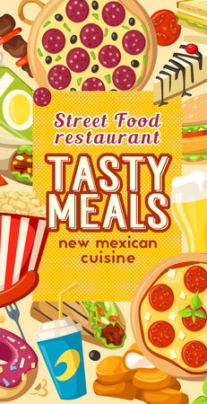 Fast food or finger food restaurant and bistro menu template poster design for Mexican cuisine. Vector sandwiches and burgers or fastfood pizza and taco or burrito, cheeseburger or hot dog and fries