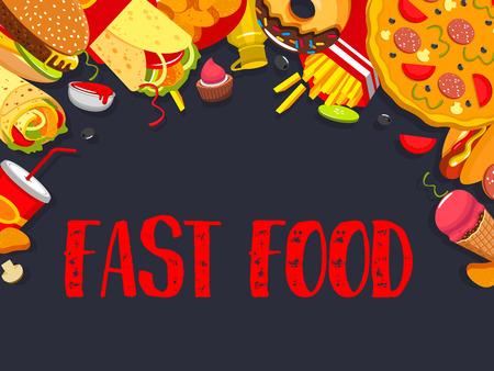 Fast food vector, fast food snacks meals poster illustration. Illustration