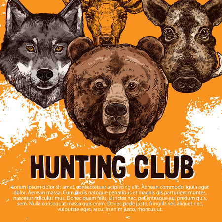 Vector sketch poster of wild animals hunting club illustration.