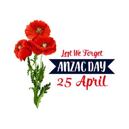 Anzac Day 25 April red poppy vector icon ribbon