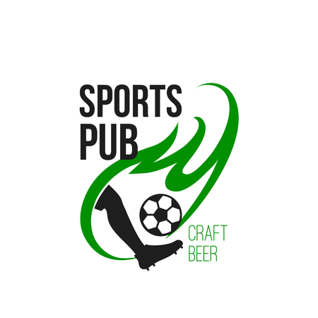 Live soccer game sports craft beer pub vector icon Illustration
