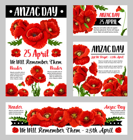 Anzac poppy poster set with floral symbol of National Day of remembrance in Australia and New Zealand. Red flower and black ribbon banner with We Will Remember Them text for Anzac Day card design Illustration