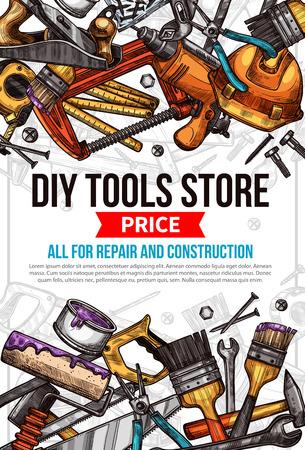 가정 수리 작업 도구의 벡터 스케치 포스터