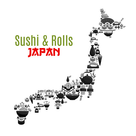 Vector Japanese map poster for sushi food