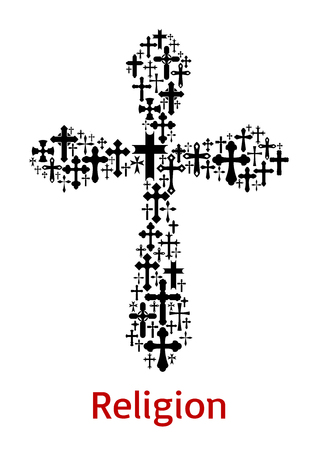 Crucifix cross religion symbol vector icon illustration.