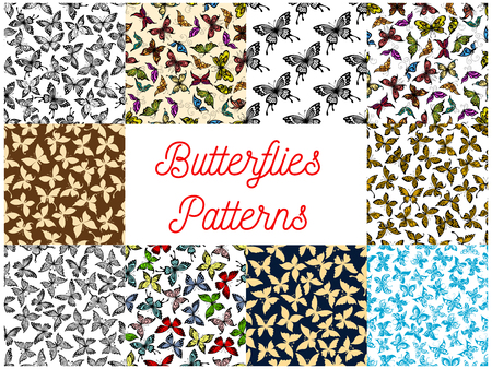 Butterfly and moth seamless pattern background illustration. Иллюстрация