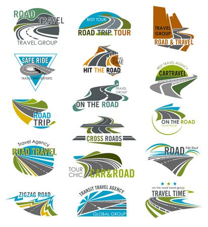 Wegpictogrammen die voor reis of toeristenbedrijf en agentschap worden geplaatst. Vector geïsoleerde gebogen snelweg of rijstrook pad en snelweg horizon, tunnel en brug voor road reis of reizen reis sjablonen
