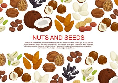 벡터 견과류와 과일 씨앗 과자 포스터