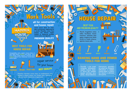 Vector work tools poster for house repair