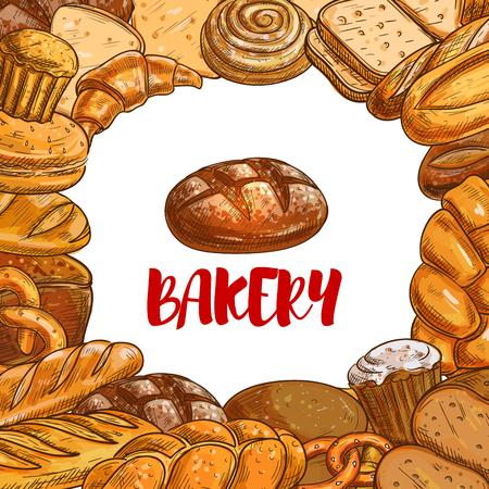 Bakery bread sketch vector poster