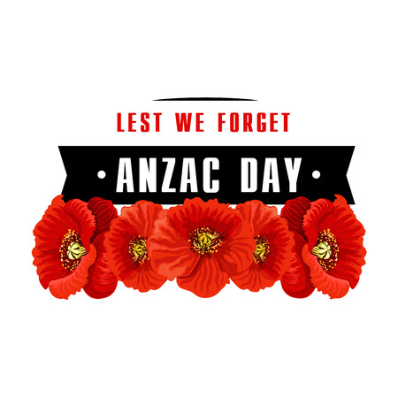 Anzac poppy flower icon with Lest We Forget banner