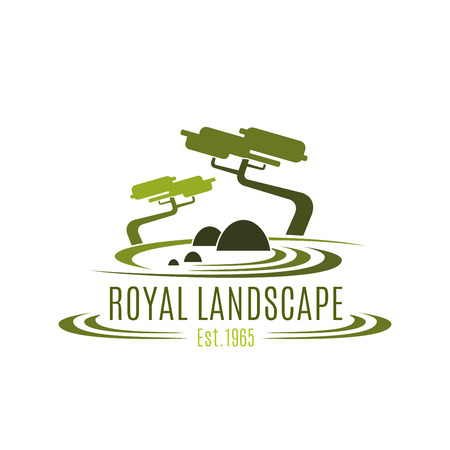 Royal landscape design company vector icon