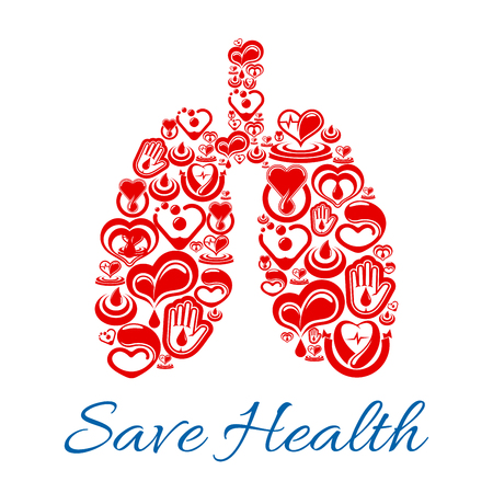 Lungs symbol of vector heart and blood medicines