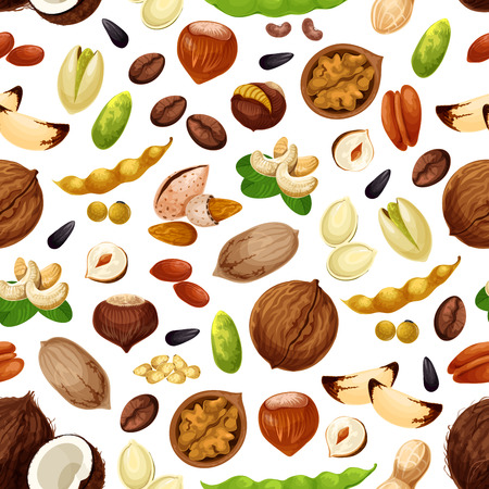 Vector seamless pattern for nuts and fruit seeds Ilustração