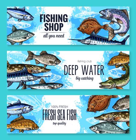 海や海の魚のセットの釣り店のバナー。ベクトルスケッチシーバス、マーリンまたはマグロとナバガ、馬サバ、金頭ブリームまたはアンチョビとウ