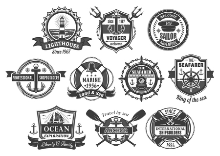 Vector nautical marine heraldic icons set Illustration