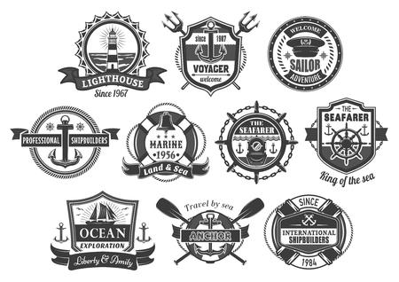 Vector nautische marine heraldische pictogrammen instellen