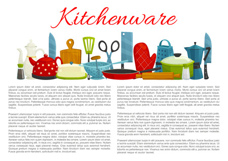 Vector poster of kitchenware and dishware items Illustration