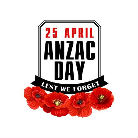 Anzac Day poppy flower label with black ribbon