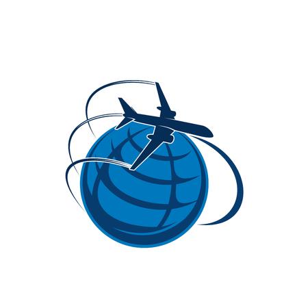 世界の地球ベクトルアイコンの上を飛ぶ飛行機  イラスト・ベクター素材