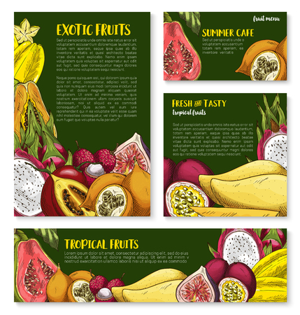 Vector templates of tropical exotic fruits